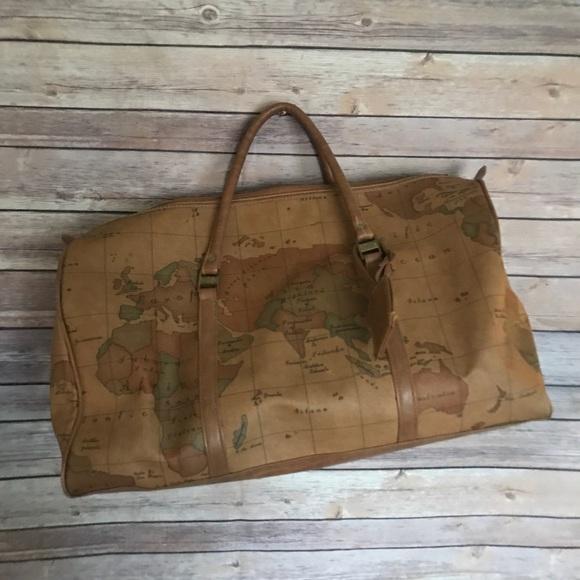 Vintage LARGE Gitano Duffle World Map Travel Bag on wwii map bag, travel bag, german map bag, korean map bag, military map bag, poster bag, russian map bag, italian map bag, vintage compass, world map bag, leather map bag,